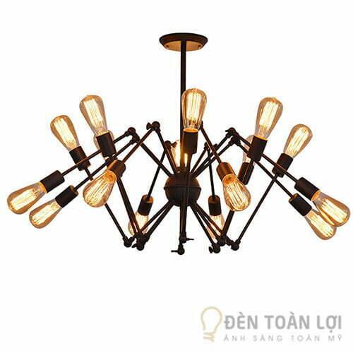 Đèn thả bộ đèn 16 bóng ánh sáng vàng trang trí quán cafe
