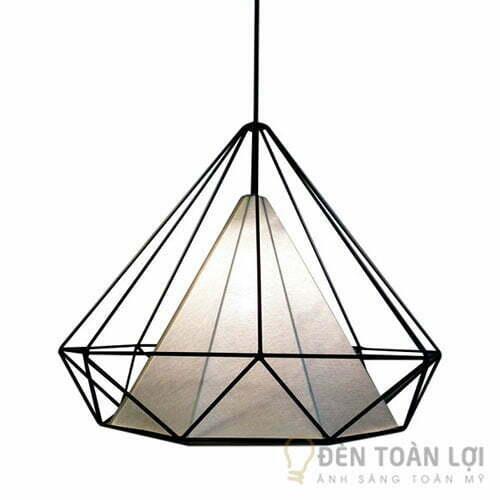 Đèn thả trang trí lồng sắt hình kim cương