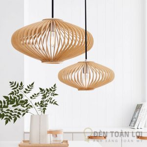 Đèn gỗ: Mẫu đèn gỗ trang trí hình lồng đèn