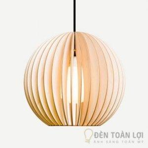 Đèn gỗ: Mẫu đèn gỗ trang trí quán cafe hình cầu cực đẹp
