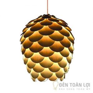 Đèn Gỗ: Mẫu đèn gỗ trang trí hình quả thông