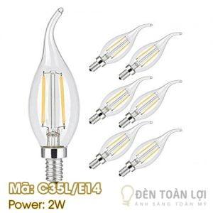 Bóng đèn: Bóng đèn LED có râu đuôi E14 Mã C35L