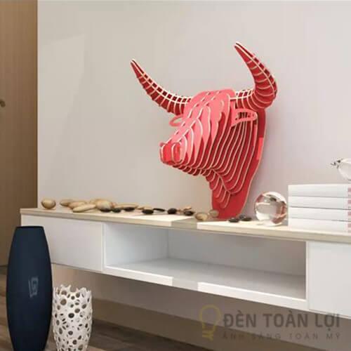 Đèn gỗ Mẫu đèn đầu trâu bằng gỗ ghép ấn tượng cho căn hộ gia đình (1)