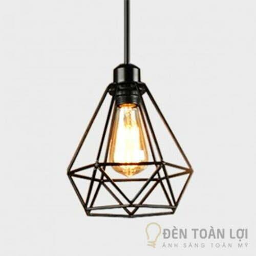Đèn thả lồng sắt hình kim cương cực đẹp trang trí quán cafe