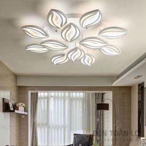 Đèn Ốp Trần Mẫu đèn led ốp trần 3 chế độ 12 cánh hoa ly cho phòng làm việc