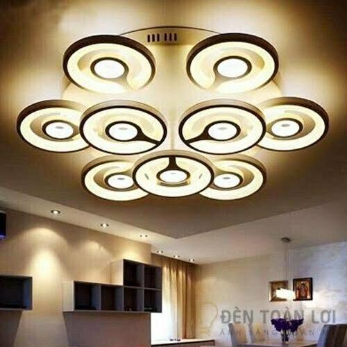Đèn Ốp Trần Mẫu đèn led 9 vòng tròn trang trí khách sạn sang trọng