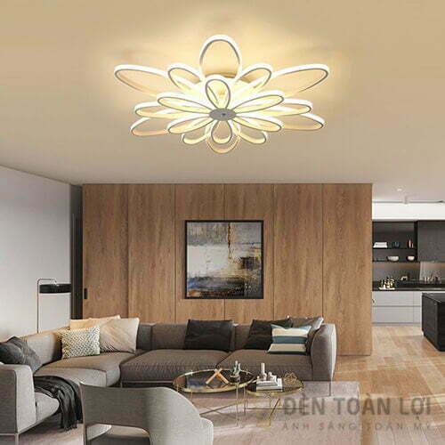 Đèn Ốp Trần Mẫu đèn led bông hoa 6 cánh chèn so le nhau trang trí resort