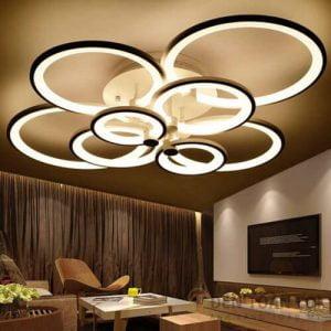 Đèn Ốp Trần Mẫu đèn led hình bông hoa vòng nhẫn 3 chế độ màu