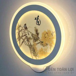 Đèn Vách Mẫu đèn treo tường bằng tranh thư pháp hoa cúc