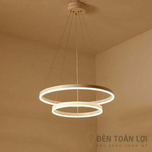 Đèn thả Mẫu đèn led thả trần 2 viền tròn mỏng độc đáo cho biệt thự