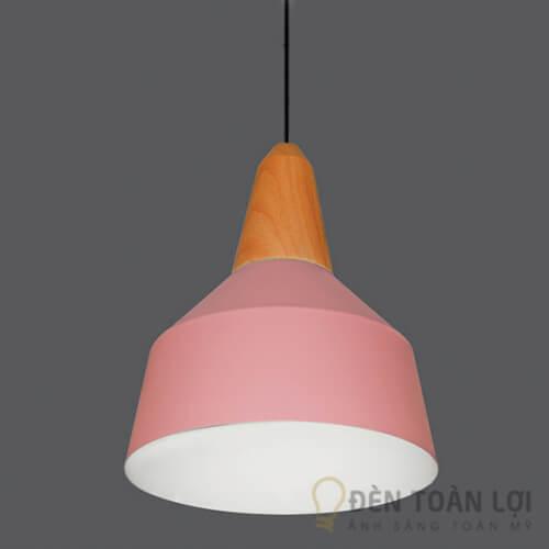 Đèn thả Mẫu đèn thả chao hình cái nơm cá màu hường trang trí quán trà sữa