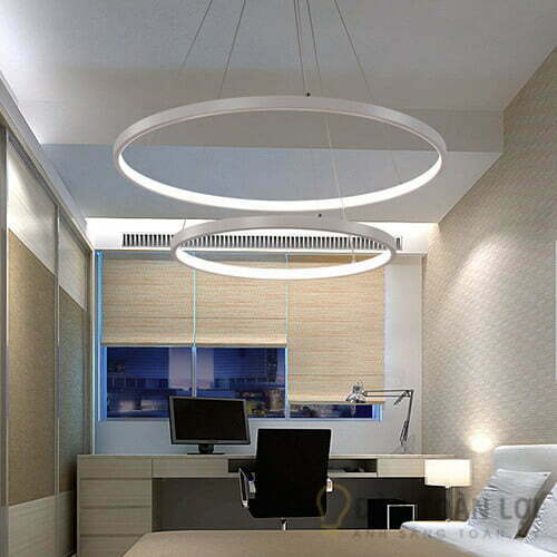 Đèn thả Mẫu đèn led thả trần 2 vòng tròn ấm cúng cho phòng khách
