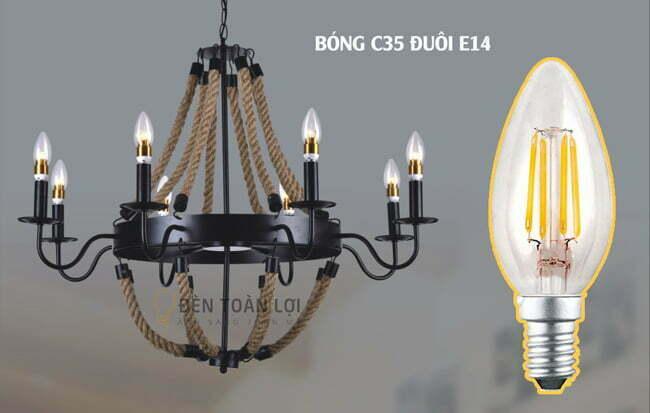 Bóng đèn LED C35 đuôi E14 4W ánh sáng vàng - Đèn Toàn Lợi