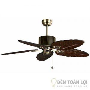 Đèn Quạt Trần Mẫu quạt trần 5 cánh gỗ thật hình chiếc lá sang trọng