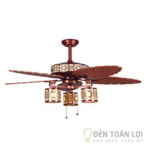 Đèn Quạt Trần: Mẫu quạt trần cánh gỗ đèn chùm có điều khiển từ xa