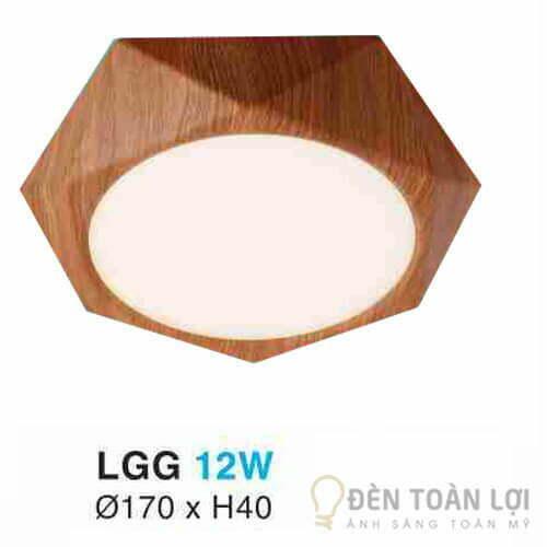 Đèn Ốp Trần Mẫu đèn led lục giác 12W vỏ giã gỗ