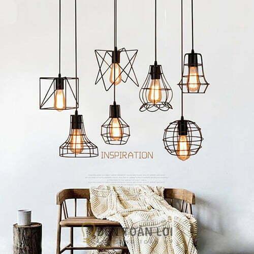 Đèn Thả: Mẫu đèn thả rọ sắt trang trí nhiều kiểu dáng