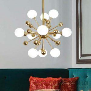 Đèn thả chùm hiện đại mạ đồng vàng 11 chao thủy tinh đục (2)