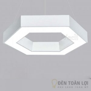 Đèn thả led hình học lục giác hiện đại màu trắng đen (1)